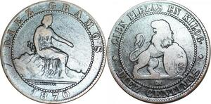 P5236 Spain 10 Centimos Provisional Government 1870 OM -> Make offer