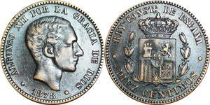P5256 Spain 10 Centimos Alphonso II 1878 OM -> Make offer