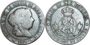 P5266 Spain 10 Centimos Isabel II 1868 (68) OM -> Make offer