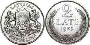 P5292 Latvia 2 Lati Coat of Arms 1925 Silver AU UNC -> M Offer