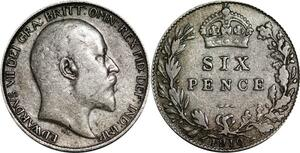P5303 UK 6 Pence Edward VII 1910 Silver -> M Offer
