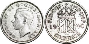P5319 UK 6 Pence George VI 1948 -> M Offer