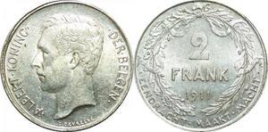 P5510 Belgium 2 Frank Albert I 1911 Devreese Silver AU -> Make offer