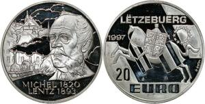 P5547 Luxembourg 20 Euro Michel Lentz 1997 Silver Proof -> M offer