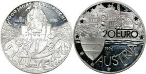 P5553 Austria 20 Euro 1000 Jahre Ostarrich 1996 Silver Proof-> M Offer