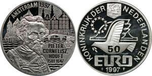P5556 Netherlands 50 Euro Pieter Cornelisz Hooft 1997 Silver Proof -> M Offer