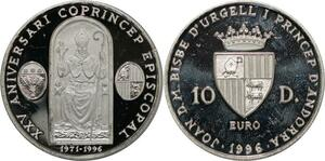 P5571 Andorra 10 Diners Euro Aniversary Coprincep Episcopal 1996 Silver Proof
