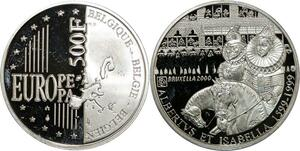 P5585 Belgium 500 Francs Albert Isablella 2000 Silver Proof -> M Offer