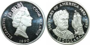P5619 Cook Islands 10 dollars Christoph Colomb 1492 1992 America Silver Proof