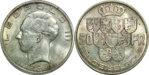P5621 Belgium 50 francs 1939 Leopold III Silver AU -> M offer