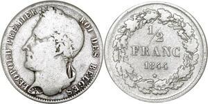 P5674 Belgium 1/2 Franc Leopold I 1844 Silver -> M Offer