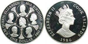 P5694 Cook Island One Dollar Elizabeth II 1926 1986 Silver Proof ->M Offer