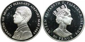 P5695 Falkland Island 50 Pence Elizabeth II 1985 Silver Proof -> M Offer