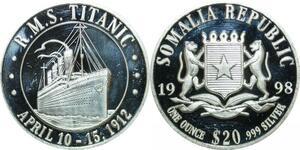 P5698 Somalia 20 Dollars RMS Titanic 1998 Silver Proof -> M Offer