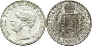 P5799 Germany Hannover 1/6 Thaler Georg V 1860 B Silver AU -> M Offer