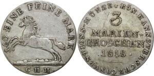 P5801 Germany Hannover 3 Marien Groschen George III 1818 CHH Silver