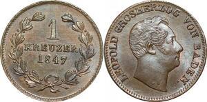 P5857 Germany Baden Kreuzer Leopold 1847 AU UNC -> M Offer