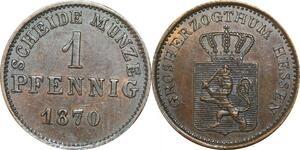 P5915 Germany Hesse Cassel Pfennig Ludwig III 1870  -> M Offer