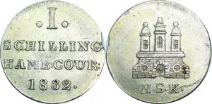 P5937 Germany States Schilling Hambourg 1832 Silver UNC -> M Offer