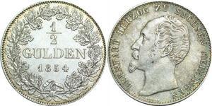 P5944 Germany Saxen Meinigen 1/2 Gulden Bernhard II 1854 Silver -> M Offer