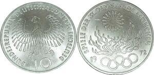 O466 Germany 10 deutsche Mark JO Munich Flamme 1972 J Hambourg Silver UNC