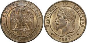 O1873 Exceptionnelle 10 Centimes Napoléon III 1861 BB Strasbourg PCGS Ms64 CI