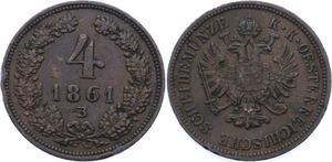 O2391 Österreich Austria 4 Kreuzer Josef I 1861 B ->Make offer