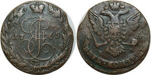 O2520 Russia 5 kopecks Catherine II 1765 ЕМ Ekaterinburg C#59.3 ->Make offer