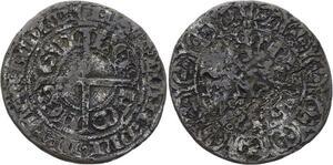 O2790 Rare Hainaut Comté Guillaume II gros Denier Eskielette GVI-LEL-M' CO-MES