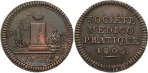 O4430 Medaille Société Médico Pratique Medecin Napoleon Vita Brevis Ars 1808