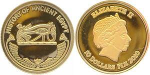 O5019 Fiji 10 Dollars Elizabeth II Egypt 2010 Or Gold 999% BE PF Proof