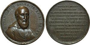 O5071 Scarce Medal Switzerland Geneva Eveque Saint François de Sales 1865