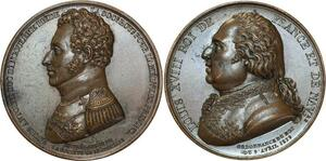O5260 Rare Medaille Louis XVIII duc Angoulème 1819 Barre Baron desnoyers SUP+