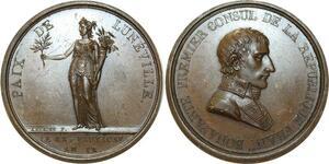 O5629 Rare Medaille Napoléon paix Lunéville An IX 1801 desnoyers PCGS SP63