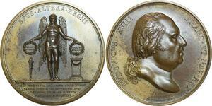 O5801 Rare Medaille Louis XVIII duc Berry Marie-Caroline Naples 1816 desnoyers