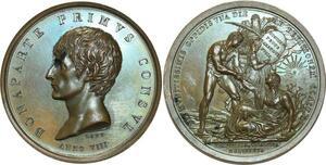 O5810 Rare Medaille Napoléon I Lavy Consul AN VIII Marengo Baron desnoyers SPL