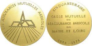 O7210 Médaille 50 ans Caisse Reassurance Agricole Maine Loire 1924 1974 SUP