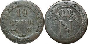 O9830 10 Centimes Napoléon I 1808 M Toulouse TTB+ ->Make offer