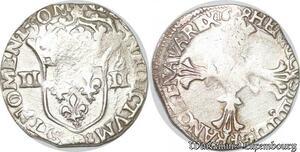 S4173 Rare 1/4 Ecu Croix feuillue face Henri IV Le Grand 1608 9 Rennes Silver