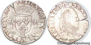S4222 Rare 1/2 Teston 3ème type Henri III Buste col plat 1576 L Bayonne Silver