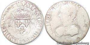 S4302 Rare 1/2 Demi Teston Charles IX N MontpellI Argent Silver - Faire Offre