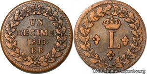 S4382 Un Décime 10 Louis XVIII 1815 BB Strasbourg Points 20g - Faire Offre