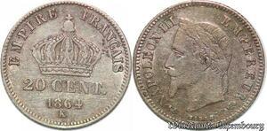 S4391 Rare 20 Centimes Napoléon I Tête Laurée Petit Module Silver >M offer