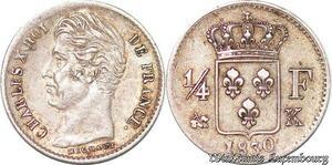 S4398 Rare 1/4 Franc Charles X 1830 K Bordeaux Silver SUP >M offer