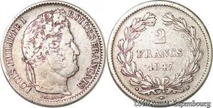 S4460 Rare 2 Francs Louis-Philippe 1847 BB Strasbourg Argent Silver