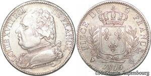 S4492 Rare 5 Francs Louis XVI 1815 /4 Q Perpignan Silver AU50 SUP- Faire Offre