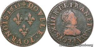 S5900 Louis XIII Double tournois, type 1 1615 A Paris Moulin du Louvre