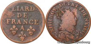 S5907 Louis XIV liard de cuivre 2e type 1655 Corbeil ->Faire Offre