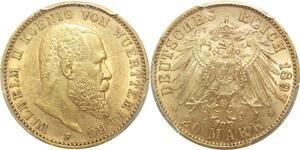 AA623 Rare Germany Wurttemberg 20 Mark Wilhelm II 1897 F Or Gold PCGS AU58