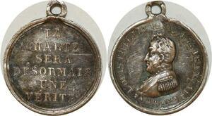 O8149 Rare Médaille Louis-Philippe Roi Charte vérité 1830 Argent SUP